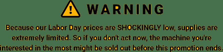 Warning Shockingly low